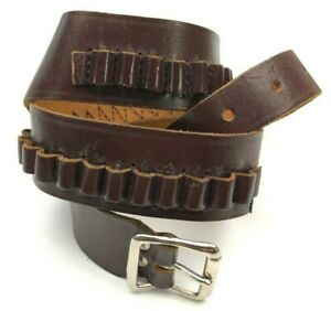 """Red Head Leather Ammo Belt 33-38"""" For .22 Caliber North & Judge Buckle 6003-MP"""