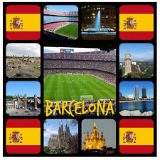 BARCELONA - SOUVENIR NOVELTY SQUARE BIG FRIDGE MAGNET / SIGHTS / FLAG / GIFTS
