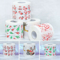 1PC Christmas Santa Print Bath Toilet Roll Paper Home Supplies Xmas Decor Tissue