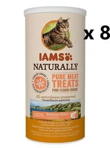 8 x IAM'S NATURALLY PURE MEAT TREATS 20g, 100% SALMON,OMEGA 3,NO GRAINS + SUGARS