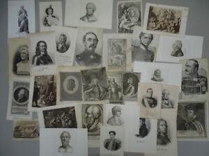 Portraits Männer Könige Heilige 31 Graphiken Kupferstiche Stahlstiche 17.-19. Jh