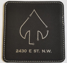 CIA NCS Clandestine Spear 2430 E ST. N.W. Black Leather Coasters Set of 4