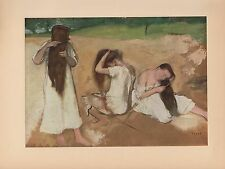 "1951 Vintage DEGAS ""WOMEN COMBING THEIR HAIR"" LOVELY COLOR Art Print Lithograph"