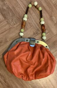 Orange Beaded Handbag By Wallis Beautiful Hardly Used 8x9 Inch