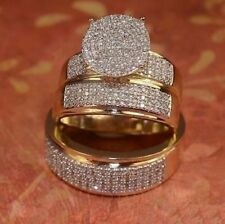 Diamond Wedding 14K Yellow Gold Over Trio His Her Bridal Engagement Ring Set