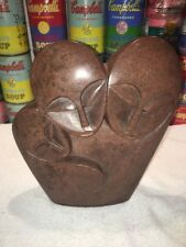 "Nice African Zimbabwe Shona Signed Stone Sculpture / Statue ""Parents & Child"""