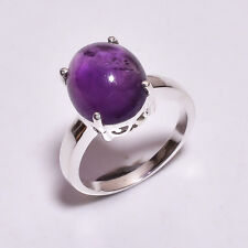 925 Sterling Silver Ring Size US 8, Natural Amethyst Handcrafted Jewelry CR3767
