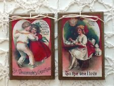 5 Hand-Crafted Wooden Valentine's Day Ornaments/HangTags So Cute! SetJ1