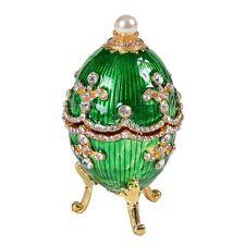 Enameled Jeweled Green Egg Metal Jewelry Trinket Box Wedding Gift Collectibles