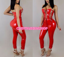 New Women PU Leather Strapless Lace UP Bodysuit Party Club Play suit Jumpsuit #J