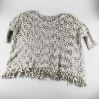 Umgee Size S Beige Oversized Fringe Sweater Small Medium Soft Knit Cream Brown
