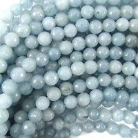 "New 8mm Natural Faceted Aquamarine Blue Jade Round Gemstone Loose Beads 15"""