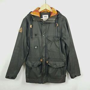 ADDICT Mens Hooded Parka M Grey Full Zip Button Pockets Check Lined Drawstring