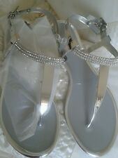 SIZE 4  SILVER/CRYSTAL SANDALS BY  NINE WEST