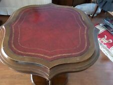 Mahogany Art Deco Table with Red Brown Gold Embossed Leather Top
