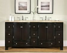 72-inch Travertine Stone Counter Top Double Bathroom Vanity Sink Cabinet 0703Tr