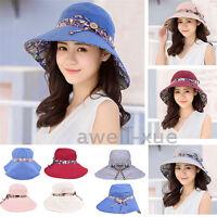 Women Sun Hat Reversible Anti UV Beach Summer Vacation Foldable Wide Brim Cap