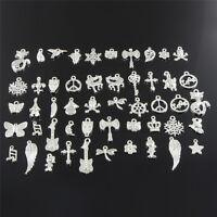 Wholesale Retro Silver 50pcs Bulk Lots Mix Charm Pendants Jewelry DIY Hot DSUK