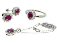 4.56ct Rubin & Diamant-Halskette,Ohrringe,Ring Im Set 18k & 14k Weiss Gold