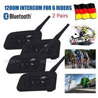 1200m Motorrad Helm Sprechanlage Gegensprechanlage Intercom 6 Riders V6 BT 4X DE