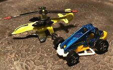 Hot Wheels Duo - Yellow Blue Slide Out Dune Buggie & Sky Knife Helicopter