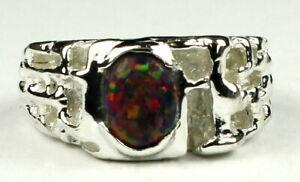 CREATED BLACK OPAL Sterling Silver Men's Ring, Handmade • SR197