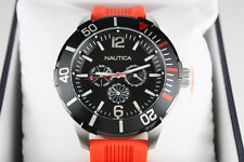 Nautica Men's Watch Black Dial Red Orange Rubber Strap Day Date A14626G NSR 11