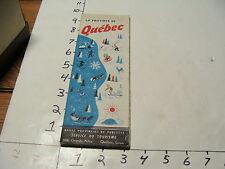vintag travel paper--La Province De QUEBEC tourist map, 1950 first edtion