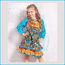 BonEful RTS NEW Boutique 6 GIRL Cotton VTG Dress Thanksgiving Orange Aqua Flower