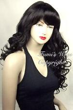 Largo y rizado Peluca En Color Negro / 100% Japonesas Fibra brillante Calidad de Fumi Wigs Reino Unido