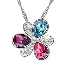 18K White Gold GP Made With Swarovski Crystal Colorful Cherry Blossom Necklace