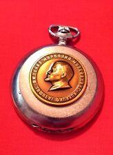 Vintage Molnija USSR Pocket Watch 3D Bronze Lenin 18 Jewels Hunter Price Reduced