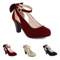 Women's Mary Janes Ankle Strap 6.5cm Heel Pumps Round Toe Casual Party Shoes D