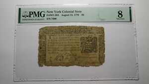 1776 $5 New York NY Colonial Currency Bank Note Bill Five Dollars PMG VG8 RARE!