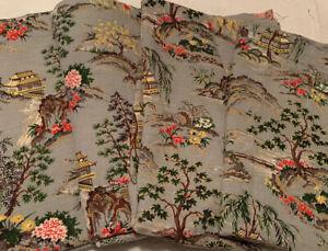 "4 Vintage Mid Century Barkcloth Asian Oriental Theme Curtain Panels 66""L x 46"" W"