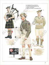 PLANCHE UNIFORMS PRINT WWII HIGHLAND DIVISION BAGPIPE GORDON'S GENERAL WIMBERLEY