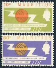 Mauritius 291-292,hinged.Michel 283-284. ITU-100,1965.Communication equipment.