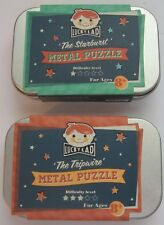 Two Metal Puzzle Tricks in Tin Box Lucky Lad Brain Teasers Tripwire Starburst