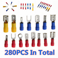 280x Electrical Cable Wire Connectors Assorted Insulated Crimp Terminal Spade
