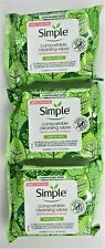 Simple Kind To Skin Cleansing Wipes, 3 Packs, 25 Each, Make Up Remover