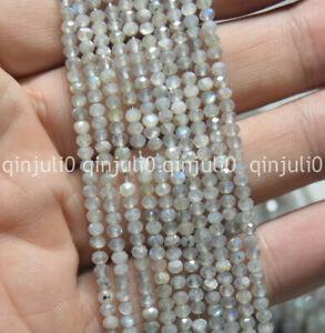 "Wholesa 2x3mm Faceted Light Labradorite Gemstone Roundel Loose Beads 15.5"""