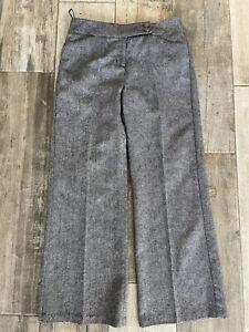 PER UNA M&S Roma Rise Wide Leg Trousers Grey Wool Blend Size 14 UK