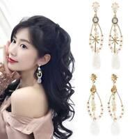 Fashion Crystal Flower Tassel Ear Stud Earrings Dangle Drop Wedding Jewelry Gift