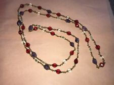 Old Amythest W/ Faceted Clear & Ruby Glass Beads On Brass Chain