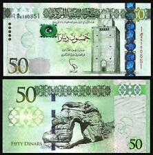 LIBYA 50 DINAR 2014 UNC  P.80 WATERMARK : OMER MUHTAR