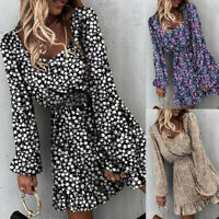 ❤️ Womens Long Sleeve Floral Print Mini Dress Ladies Ruffled Holiday Swing Dress