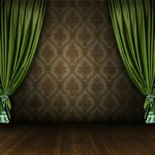 Vintage Stage Green Curtains Damask Wall Grunge Floor Backdrop 8x8ft Background
