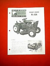 "WHEEL HORSE TRACTOR 42"" MOWER DECK MODEL RL-426 OWNER WITH PARTS MANUAL"