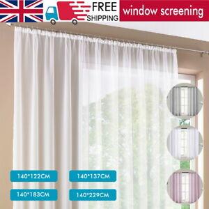 Voile Curtains Pair (2 Panels) Voile Net Panels Sheer Panels Slot Top Quality