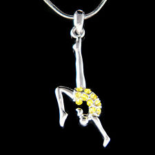 w Swarovski Crystal Yellow Olympic Gymnastic Gymnast Acrobat Contortion Necklace